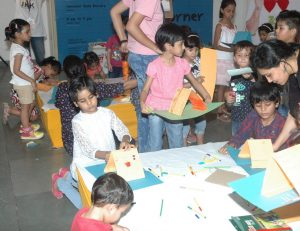 Children engaged in craft activities in the Craft Corner at JKK during the Bookaroo Children Literature Festival